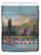 New Covenant - Rainbow Over Marina Duvet Cover