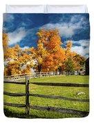 New England Farm With Autumn Sugar Duvet Cover