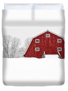 New England Red Barn In Winter Snow Storm Duvet Cover