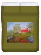 New England Red Barn Summer Duvet Cover