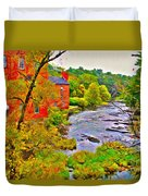 New England Stream In Fall Duvet Cover