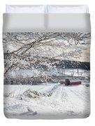 New England Winter Farms Duvet Cover