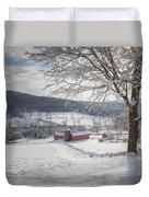 New England Winter Farms Morning Square Duvet Cover