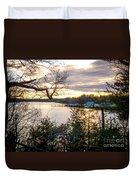 New England Winter Sunset Duvet Cover