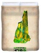 New Hampshire Watercolor Map Duvet Cover