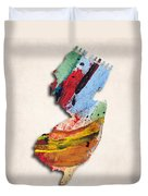 New Jersey Map Art - Painted Map Of New Jersey Duvet Cover