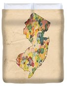 New Jersey Map Vintage Watercolor Duvet Cover