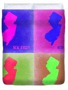 New Jersey Pop Art Map 2 Duvet Cover