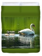 New Mute Swan Family In May Duvet Cover