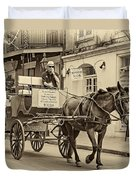 New Orleans - Carriage Ride Sepia Duvet Cover