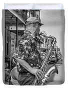 New Orleans Jazz Sax Bw Duvet Cover