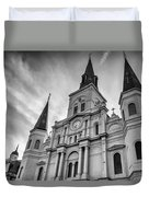 New Orleans St Louis Cathedral Bw Duvet Cover