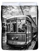 New Orleans Streetcar Black And White Picture Duvet Cover