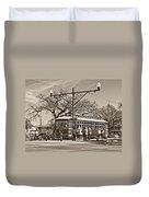 New Orleans Streetcar Sepia Duvet Cover