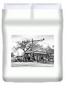 New Orleans Streetcar Silhouette Duvet Cover