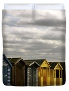 Colourful Wooden English Seaside Beach Huts Duvet Cover