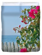 New Photographic Art Print For Sale On The Fence Montecito Bougainvillea Overlooking The Pacific Duvet Cover