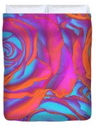 Pop Art Pink Neon Roses Duvet Cover