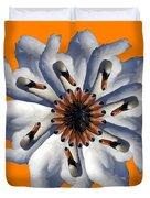 New Photographic Art Print For Sale Pop Art Swan Flower On Orange Duvet Cover
