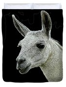 New Photographic Art Print For Sale   Portrait Of  Llama Against Black Duvet Cover