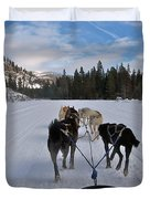 Riding Through The Colorado Snow On A Husky Pulled Sled Duvet Cover