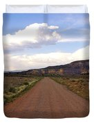 Red Road From The Benedictine Abbey Of Christ In The Desert New Mexico  Duvet Cover