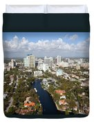 New River And Downtown Fort Lauderdale Duvet Cover