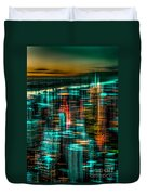 New York - The Night Awakes - Green Duvet Cover by Hannes Cmarits