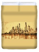 New York City Skyline 79 - Water Color Panorama Duvet Cover