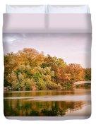 New York City - Autumn - Central Park - Lake And Bow Bridge Duvet Cover