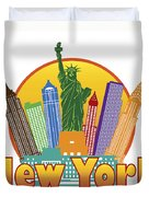 New York City Colorful Skyline In Circle Illustration Duvet Cover