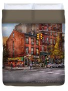 New York - City - Corner Of One Way And This Way Duvet Cover by Mike Savad