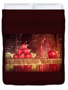 New York City Holiday Decorations Duvet Cover