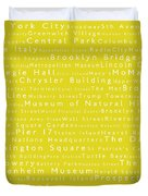 New York City In Words Yellow Duvet Cover by Sabine Jacobs