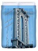 New York City Manhattan Bridge And Skyline Duvet Cover