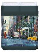 New York City Morning In The Street Duvet Cover