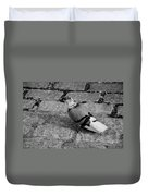 New York City Pigeon In Black And White Duvet Cover