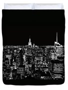 New York City Skyline At Night Duvet Cover