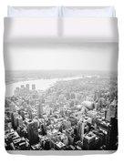 New York City Skyline - Foggy Day Duvet Cover