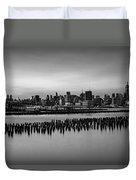 New York City Skyline Stillness Bw Duvet Cover