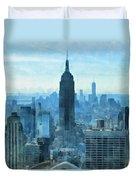 New York City Skyline Summer Day Duvet Cover