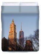 New York City Skyline Through The Trees Duvet Cover