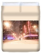 New York City - Snow And Empty Streets - Radio City Music Hall Duvet Cover