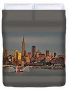 New York City Sundown On The 4th Duvet Cover by Susan Candelario