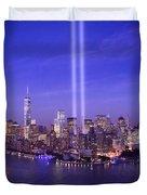 New York City Tribute In Lights World Trade Center Wtc Manhattan Nyc Duvet Cover