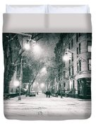 New York City - Winter Night In The West Village Duvet Cover