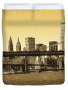 New York Downtown Manhattan Skyline - Yellow Panorama Duvet Cover