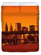 New York Downtown Manhattan Skyline Red Duvet Cover