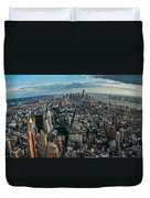 New York From A Birds Eyes - Fisheye Duvet Cover by Hannes Cmarits
