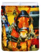 New York Horse And Carriage Duvet Cover